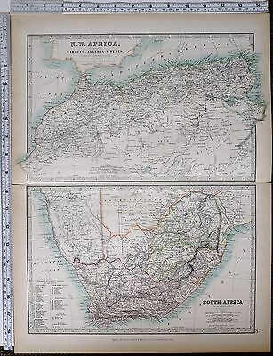 1903 Large Map North West Africa Marocco Algeria Tunis Cape Colony Transvaal