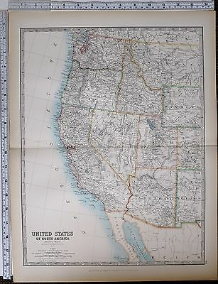 1903 Large Map United States West California Nevada Utah Oregon