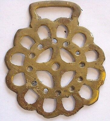 Vintage Horse Tack Harness Brass Bridle Ornament~Stylized Flower / Compass