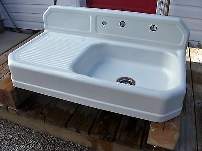 "Vintage Porcelain 42"" Farmhouse Sink with Lefthand Drainboard"