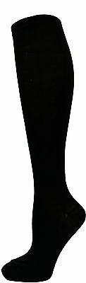 4 Pairs Women Comfort Socks Girls Plain Black Solid Long Knee High Pack US 6 8