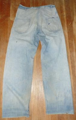 Antique 30's 40's Med Wash Denim Patch Stain Button Fly Workwear Jeans 38 x 34