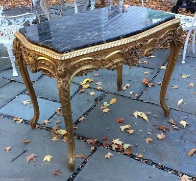 Beautiful Antique French Style Carved & Gold Gilt Marble Top Parlor Table