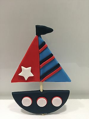 Boat Yacht Edible Baby Shower Topper Children Birthday Cake Fondant