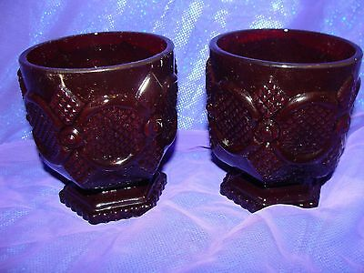 2 AVON Footed Cups Glasses 1876 Cape Cod Ruby Red Glass Vintage