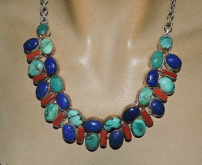 CORAL, lapis and turquoise necklace   Great necklace marked on back  925