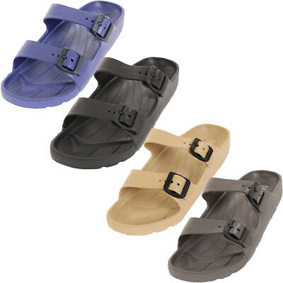Mens Slip On Buckle Sandals Slides Rubber Shoes Outdoor Casual Strap Waterproof