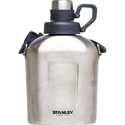 Stanley Adventure 1L Brushed Stainless Steel Water Canteen with Shoulder Strap