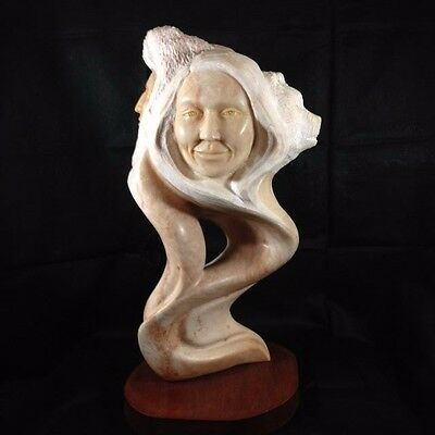 Exceptional Kathy Whitman Elk Woman Alabaster Stone Carving With Four Faces