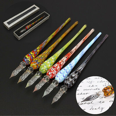 1/2/6 Pcs Creative Crystal Glass Signature Pen Filling Ink Fountain With Box AU