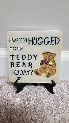 Boyds Accessory #4164 MESSAGE TILE 4x4 Have you Hugged Your Teddy Bear Today EUC