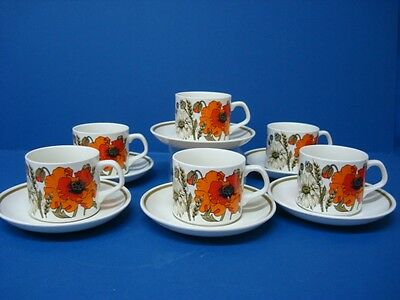 J & G Meakin Poppy 6 X Cups And Saucers