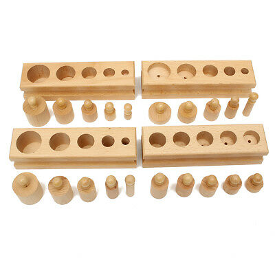 AU Montessori Knobbed Cylinder Blocks Wooden Family Kids Educational Edu Toy Set