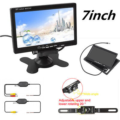 """7"""" TFT LCD Car Rear View Monitor+ Reverse Camera+Wireless Transmitter Receiver"""