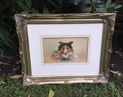 Antique Watercolour Painting 1926 Of Cats And A Dog Signed By The Artist