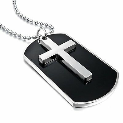 MENDINO Men's Alloy Pendant Chain Necklace Dog Tag Cross Army Military Black