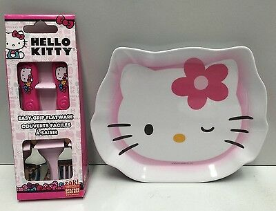 Hello Kitty Kids Easy Grip Flatware Cutlery & Melamine Plate Set