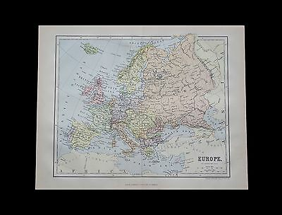 Antique 1883 colour map of EUROPE - 130+ years old & VGC !