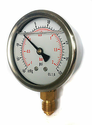 Compound Pressure Vacuum Gauge Glycerine Filled 63mm -1/+2 Bar &-30*Hg/+30 PSI