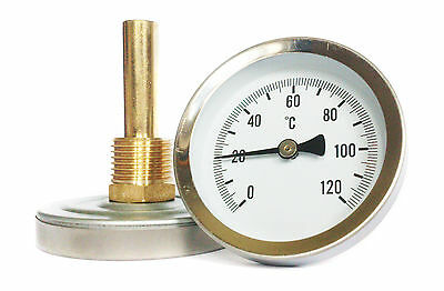 63mm HORIZONTAL DIAL THERMOMETER  TEMPERATURE GAUGE with  POCKET 0/120 C HVAC