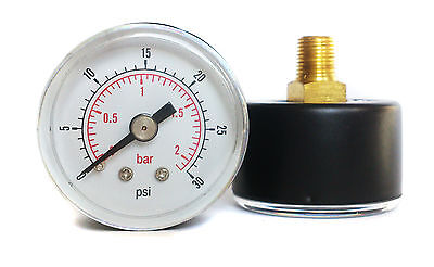 Low Pressure Gauge Air Oil Water 50mm 0/30 PSI & 0/2 Bar 1/4 BSPT Back Rear