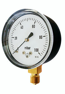 Capsule Gauge for Very Low Pressure Air or Gas 63mm 0/25 60 100 250 600 mBar