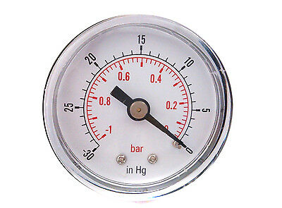 "Vacuum Gauge New Boxed 50mm -1/0 Bar -30""Hg/0 1/4 BSPT Back Connection"