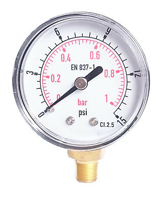 Pressure Gauge 50mm Dial  1/4 BSPT Vertical 15,30,60.100,150 200, 300 PSI & Bar