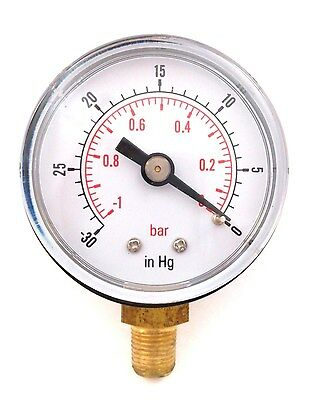 "Vacuum Gauge for Air Fuel Oil or Water 40mm 0/30""Hg & 0/-1 Bar 1/8"" BSPT Bottom"