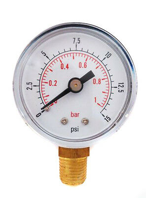 Pressure Gauge 50mm 1/4 BSPT Vertical 15,30,60.100,150,300 PSI & Bar.New & Boxed