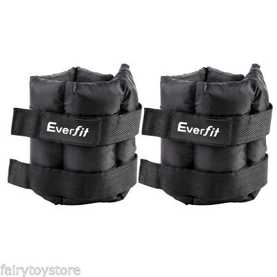 2×5kg Adjustable Ankle Wrist Fitness Weights Training Exercise Weight w/ Strap