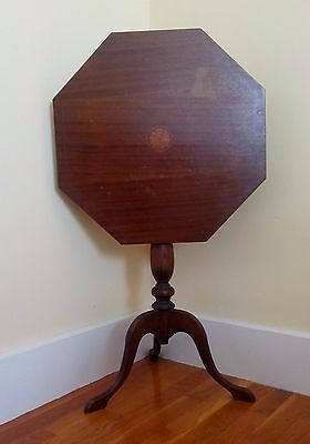 Antique Mahogany Tilt Top Table with Wood Inlays Hepplewhite Candlestand Hexagon