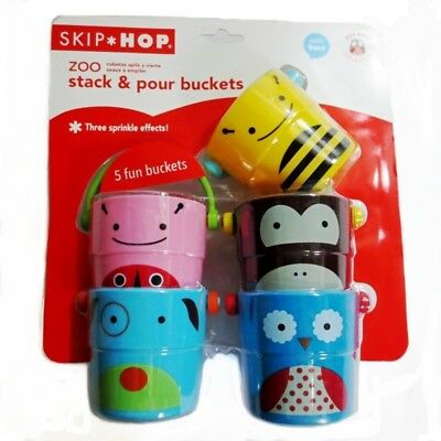 Baby Kid Child Skip Hop Zoo Collection Stack & Pour Buckets Set Bathing Toy 9M+