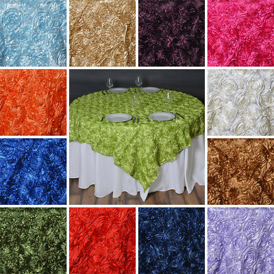 Raised Roses Square SATIN TABLE OVERLAYS Wedding Catering Event Dinner Supply