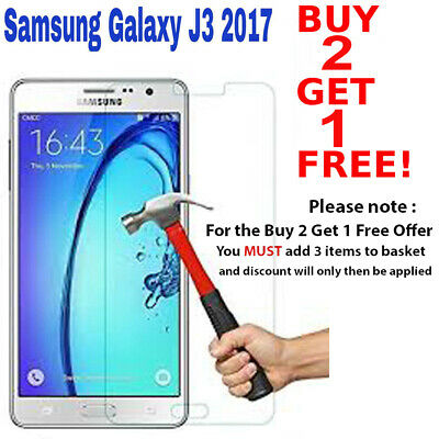 100% Genuine Tempered Glass Film Screen Protector Fit For Samsung Galaxy J3 2017