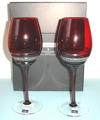 Waterford John Rocha Voya Red Crystal SET/2 Red Wine Glasses 146340 New in Box
