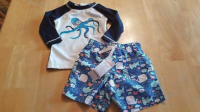Gymboree Boy Blue Octopus Swim Trunks Long Slv Rash Guard Swimsuit 6 12 Mo Nwt
