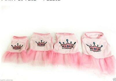XS-S Pink Puppy small dog toy breed tutu dress up costume crown on back