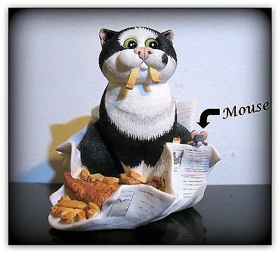 New Comic & Curious Cats Linda Jane Smith Border fine arts Fish & Chips Figurine