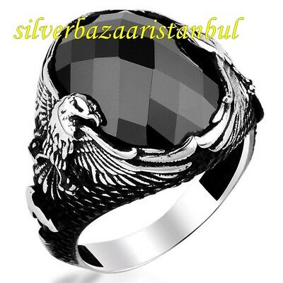 Turkish Handmade 925 Sterling Silver  Onyx Mens Ring Sz 11 us Free Resize