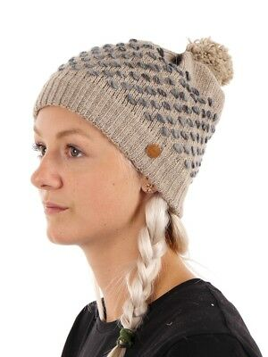 CMP Hat Beanie Knitted Brown POMPOM Fleece Warming Comfortable