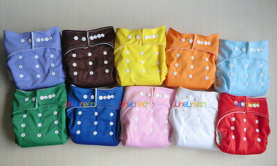 LOTS 10pcs+10 INSERTS Adjustable Reusable Washable Baby Cloth Diapers Nappies