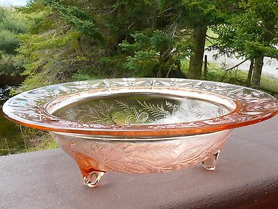 "Vintage Depression Glass Decorated Pink FOOTED BOWL 11"" Wide x 3"" Tall VGC"