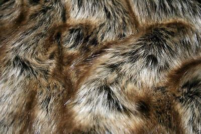 Super Luxury Faux Fur Fabric Material - BEIGE BROWN