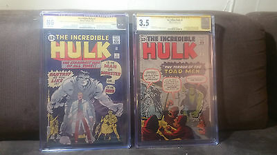 Incredible Hulk 1 (Coverless) and 2. CGC NG and CGC 3.5. Both Signed SS Stan Lee