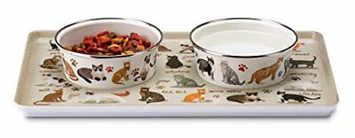 Sit-N-Stay Magnetic Non-Slip Cat Pet Tray & Food Bowl Set Crazy About Cats, New