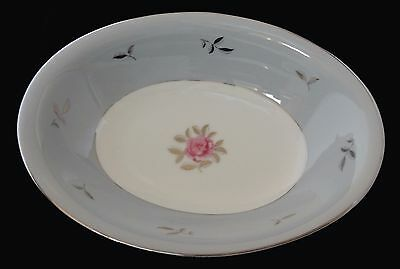 """Seyei Fine China Bella Maria 2129 Pink Rose Gray Silver Oval Serving Platter 11"""""""