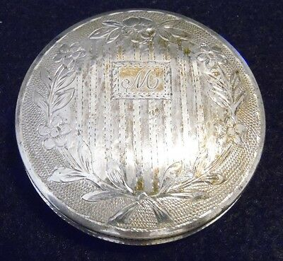 "VINTAGE Art Deco 833 NY STERLING SILVER POWDER COMPACT Engraved MONOGRAMMED ""M"""