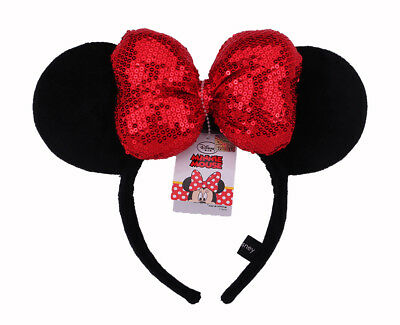 Disney Parks Minnie Mouse Red Black Sequin Headband - Ears Costume Bow Hat #