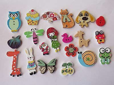 """20  """"  WOODEN NOVELTY """"  Coloured Buttons...New...1.2cm up to 3cm..Lot B"""
